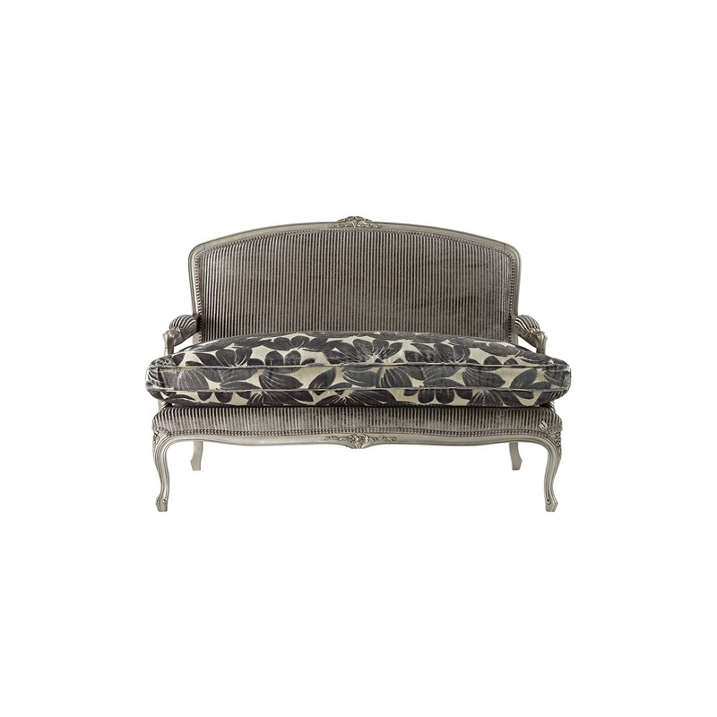 canap de luxe 2 places vintage tissu gris avec accoudoirs. Black Bedroom Furniture Sets. Home Design Ideas
