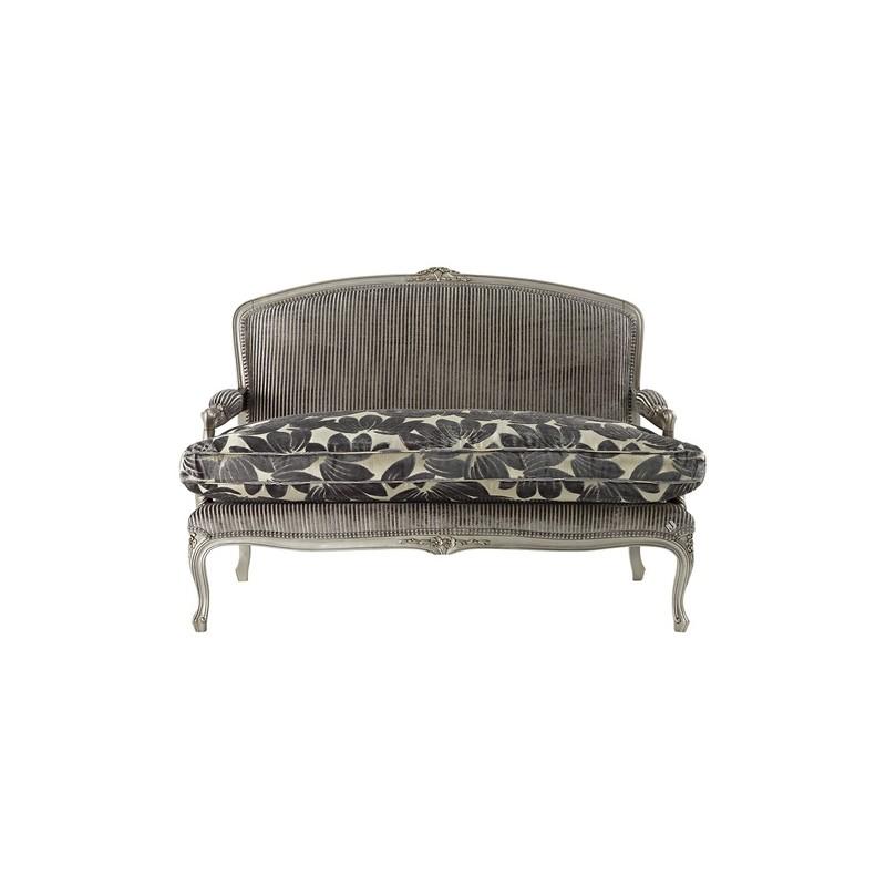 Canap De Luxe 2 Places Vintage Tissu Gris Avec Accoudoirs