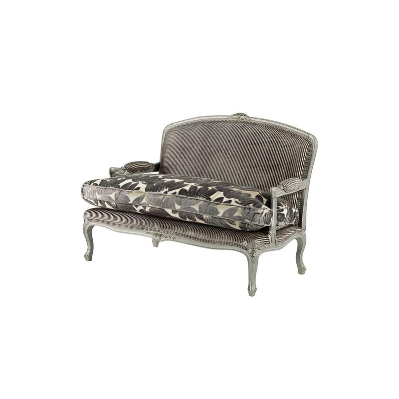 canap de luxe 2 places vintage tissu gris avec accoudoirs. Black Bedroom Furniture Sets. Home Design Ideas