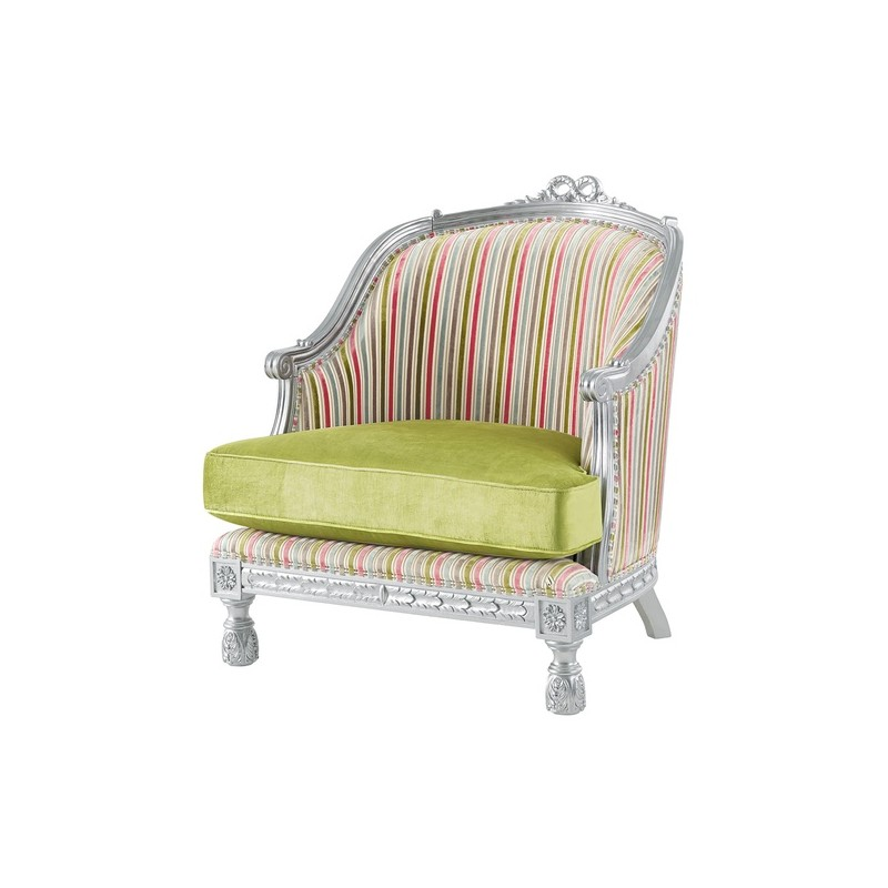 fauteuil de luxe vintage tissu vert bleu ou rouge avec accoudoirs milan. Black Bedroom Furniture Sets. Home Design Ideas