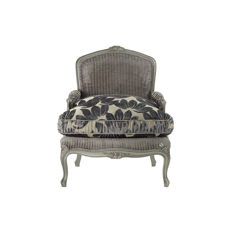fauteuil de luxe vintage tissu gris avec accoudoirs glamour. Black Bedroom Furniture Sets. Home Design Ideas