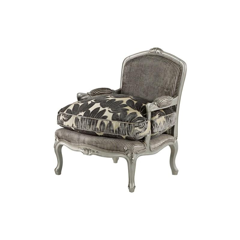 fauteuil de luxe vintage tissu gris avec accoudoirs glamour. Black Bedroom Furniture Sets. Home Design Ideas