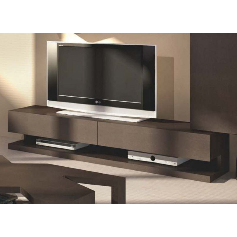 meuble tv design 2 tiroirs avec clairage led moka. Black Bedroom Furniture Sets. Home Design Ideas