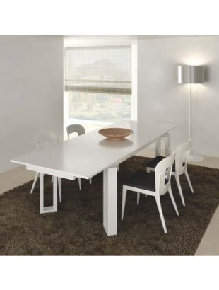 table design rectangulaire noire et blanche avec rallonge luz. Black Bedroom Furniture Sets. Home Design Ideas
