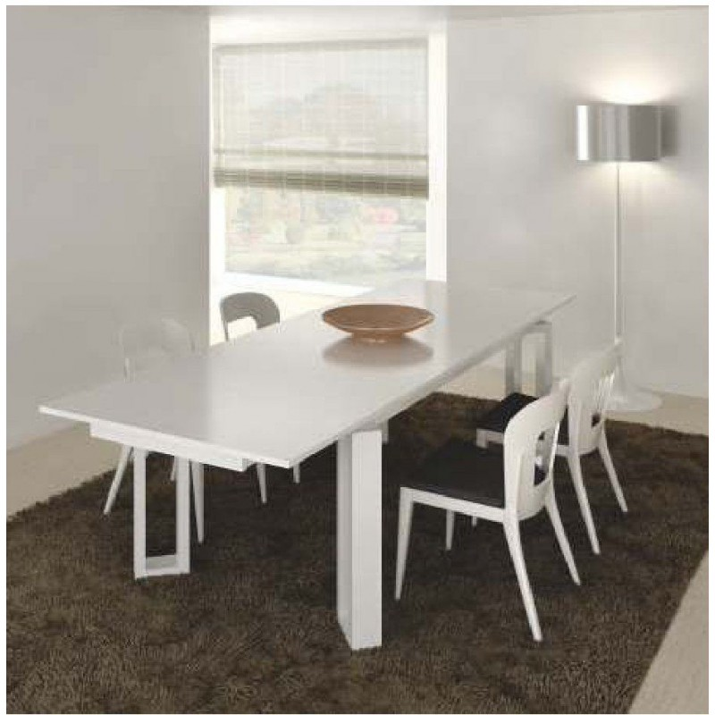 Table design rectangulaire noire et blanche avec rallonge luz for Table sejour design