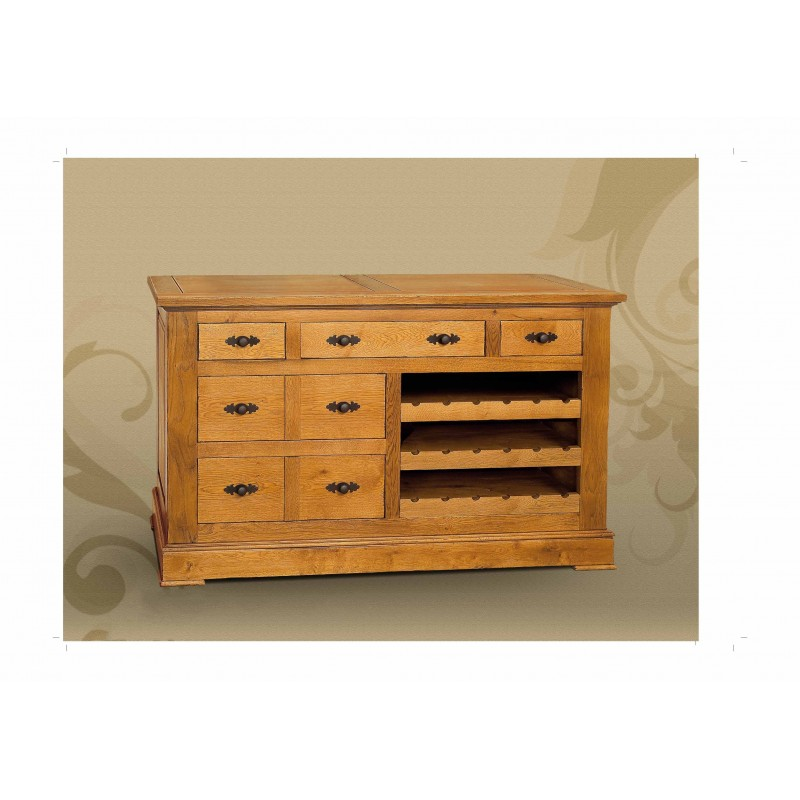 meuble en ch ne 5 tiroirs et casier bouteilles epernay. Black Bedroom Furniture Sets. Home Design Ideas