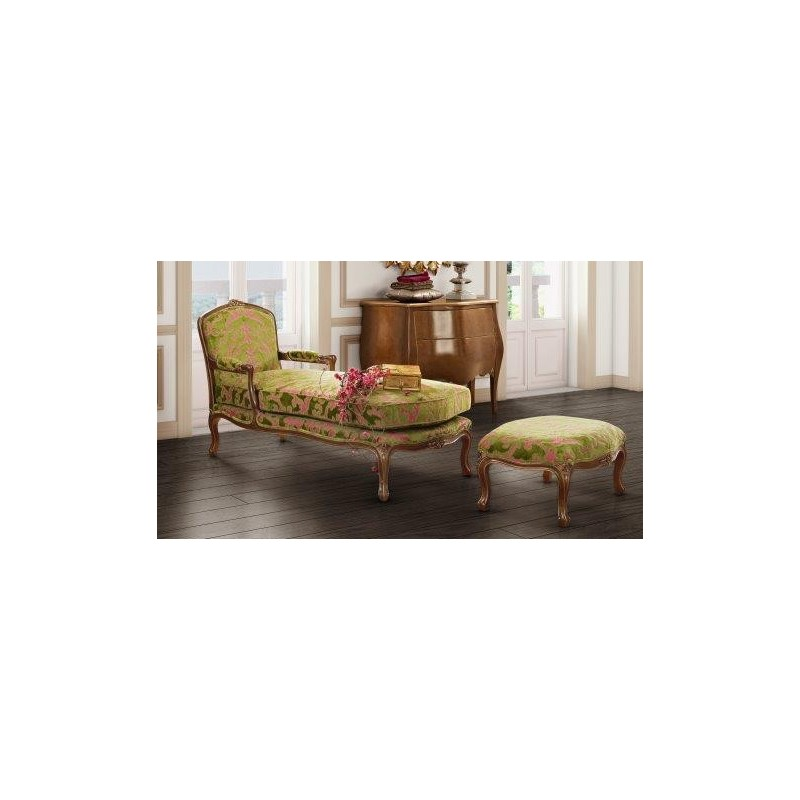 Chaise longue de salon de luxe tissu vintage vert barriga for Salon luxe