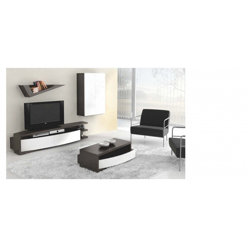 Meuble tv design 2 tiroirs 1 niche 2 tag res opium for Meuble etagere tv design