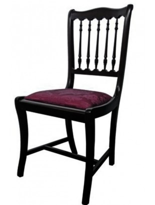 Chaise antiquaire en merisier noire tissu bordeaux bistrot for Chaise quercus