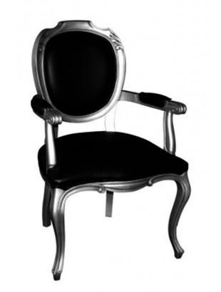 Chaise antiquaire noire avec accoudoirs sasu meuble de for Chaise quercus