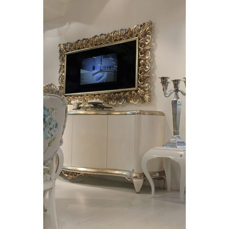 miroir avec t l vision int gr e miroir tv inscrust feuille d 39 or ou feuille d 39 argent. Black Bedroom Furniture Sets. Home Design Ideas