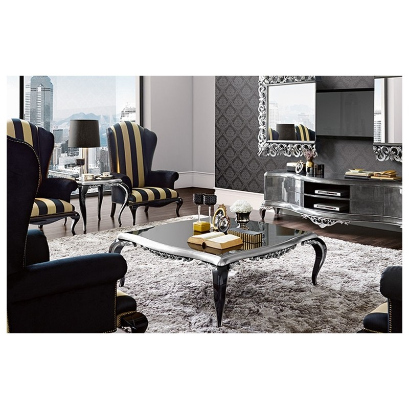 table basse de luxe carr e ou rectangulaire noire venize. Black Bedroom Furniture Sets. Home Design Ideas