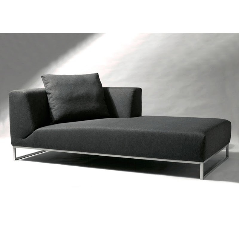 chaise longue de salon cuir ou tissu noire. Black Bedroom Furniture Sets. Home Design Ideas