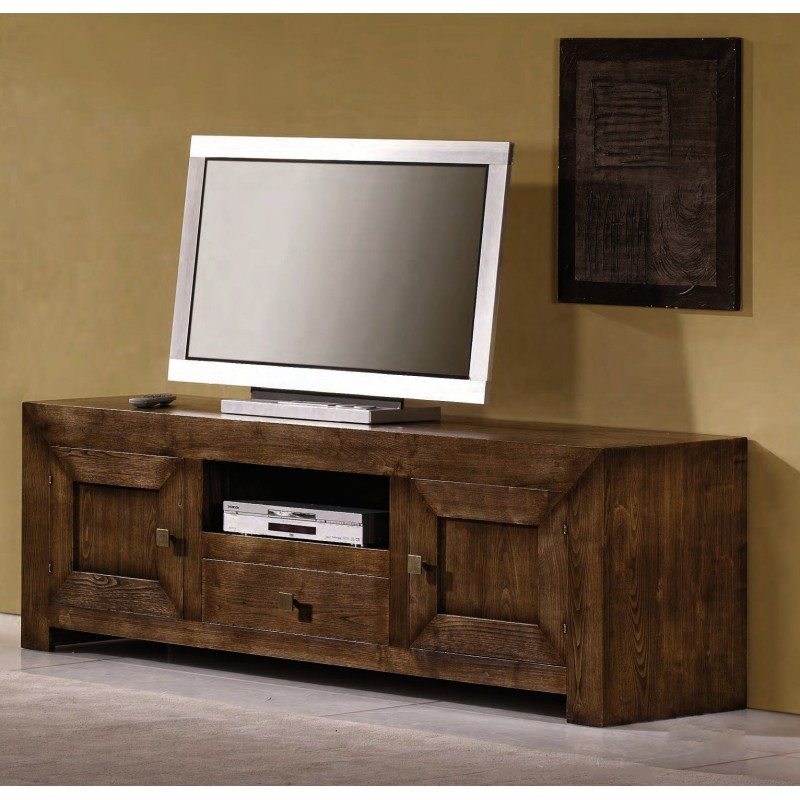 meuble tv en ch ne 2 portes rugosa. Black Bedroom Furniture Sets. Home Design Ideas