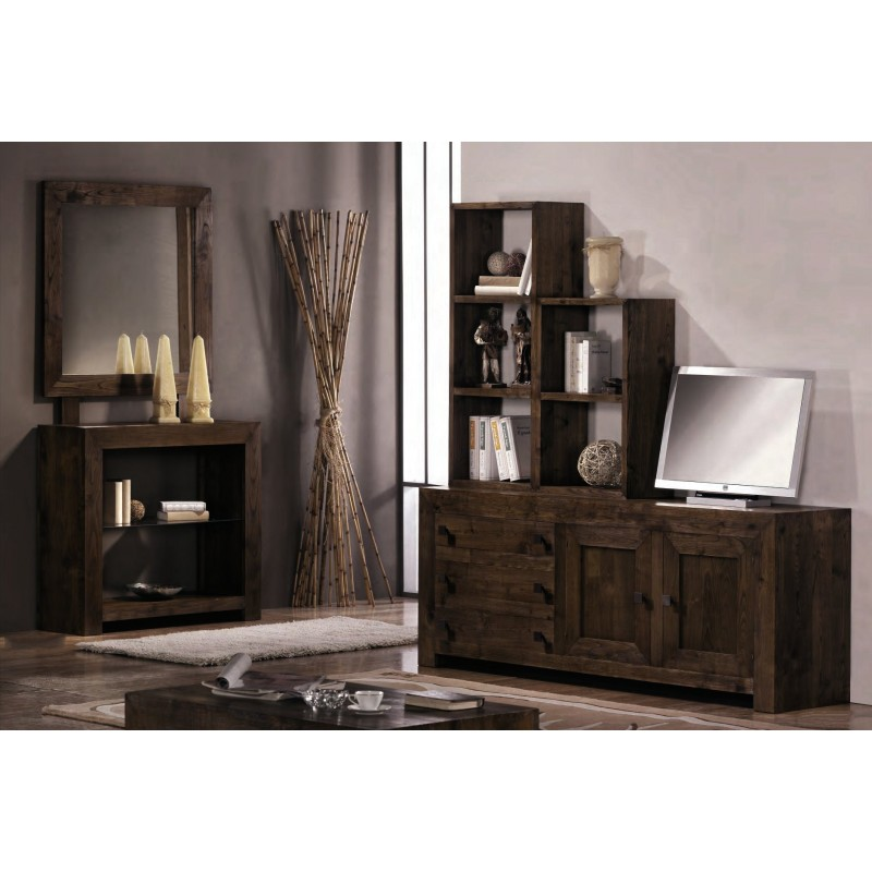 ensemble meuble tv avec tag res et console en ch ne montana miroir. Black Bedroom Furniture Sets. Home Design Ideas