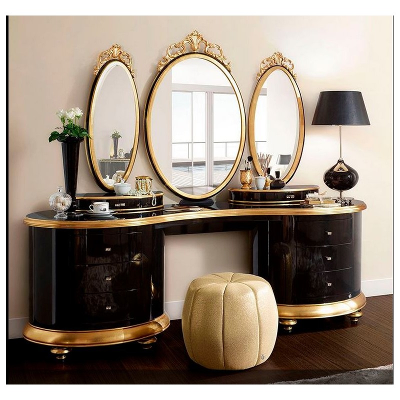 coiffeuse de luxe 5 tiroirs et 3 miroirs milan. Black Bedroom Furniture Sets. Home Design Ideas