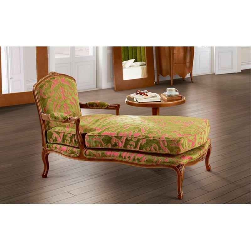 Chaise longue de salon de luxe tissu vintage vert barriga for Chaise longue salon