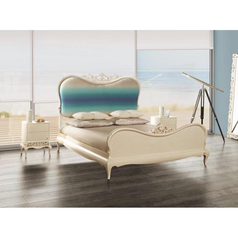 lit adulte 2 personnes bleu luxe or et argent et chevet baroque. Black Bedroom Furniture Sets. Home Design Ideas