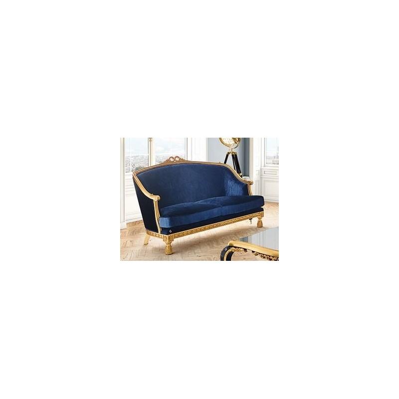 canap de luxe 2 places tissu velour bleu venize. Black Bedroom Furniture Sets. Home Design Ideas
