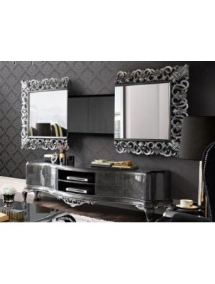 Meuble tv bas de luxe 2 portes venize et miroir tv int gr e for Meuble baroque moderne