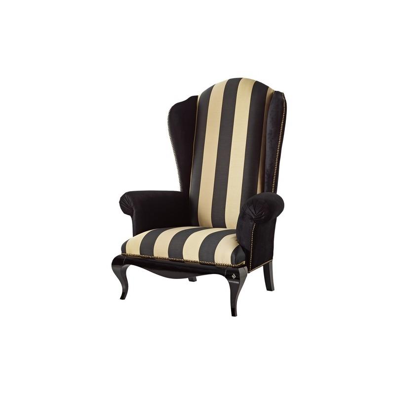 fauteuil de luxe tissu vintage marron et beige venize. Black Bedroom Furniture Sets. Home Design Ideas