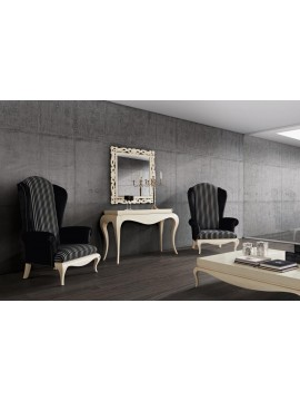Meuble de luxe console, miroir et fauteuil