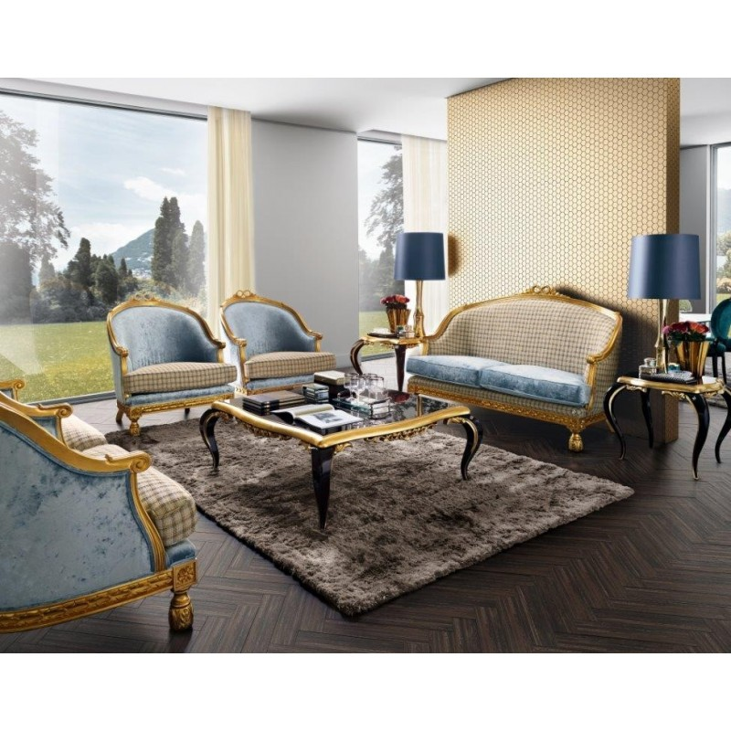 meubles de salon bleu de luxe avec table basse venize. Black Bedroom Furniture Sets. Home Design Ideas