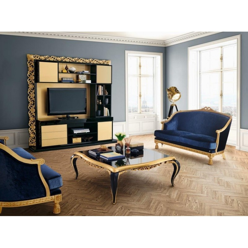 meuble de salon tv or de luxe venize. Black Bedroom Furniture Sets. Home Design Ideas