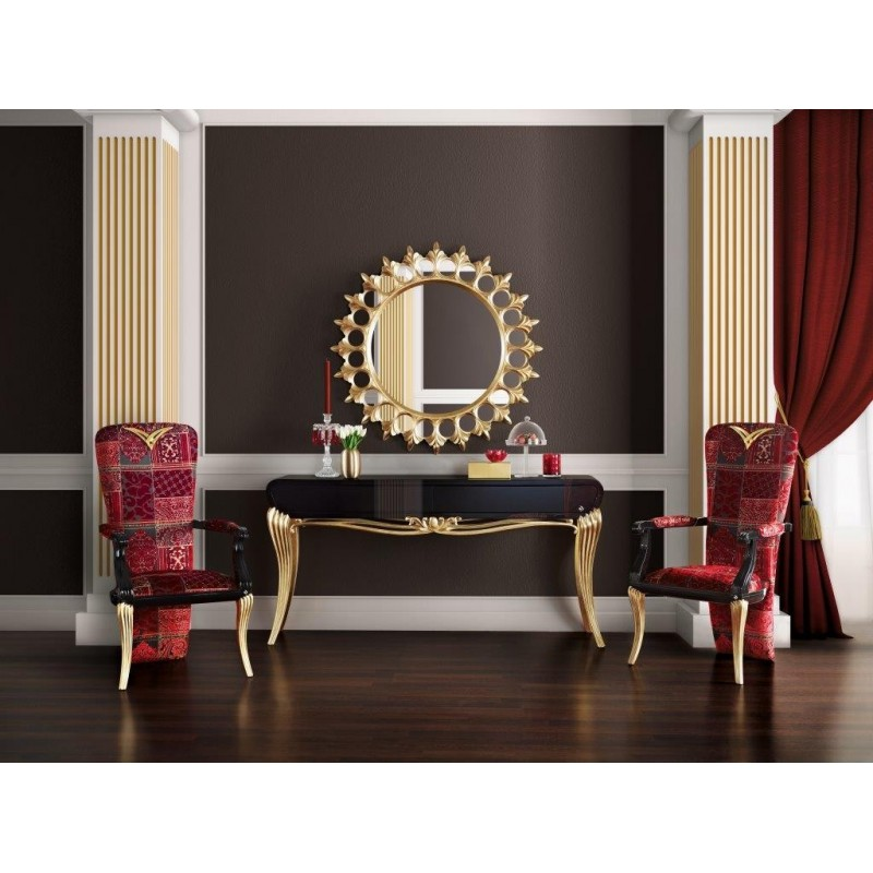 console de luxe noire 1900 et miroir soleil meuble d 39 entr e. Black Bedroom Furniture Sets. Home Design Ideas