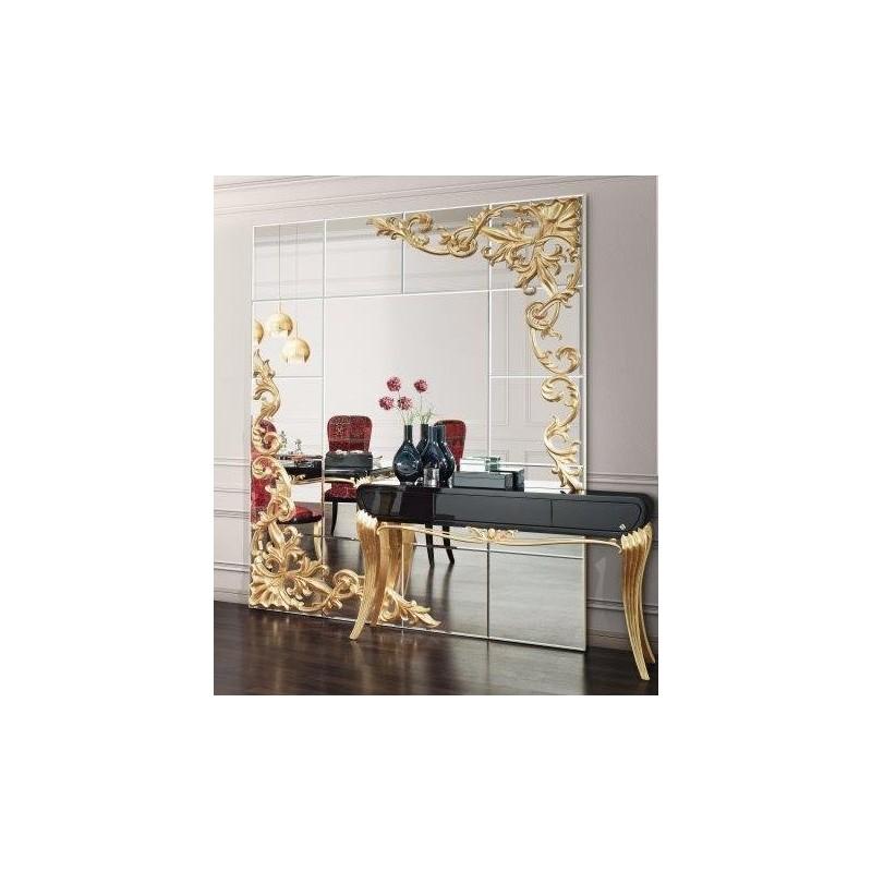 console de luxe noire 1900 et miroir soleil meuble d'entrée - Meubles Baroques Design
