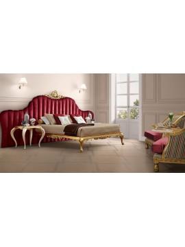 Lit et tête de lit rouge Milan meuble de chambre adulte de luxe