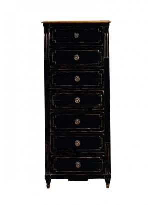 chiffonnier commode antiquaire 7 tiroirs noire milady meuble de chambre adulte. Black Bedroom Furniture Sets. Home Design Ideas