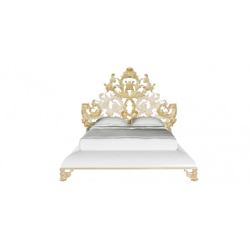 Lit baroque et t te de lit de luxe capitonn e 2 personnes for Chambre adulte complete baroque