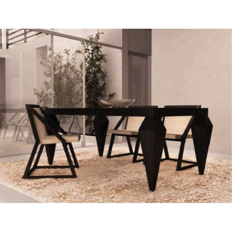 Table de s jour design noire rectangulaire plateau en for Table sejour design