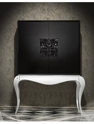 meuble bar noir de luxe 2 portes ivoire clairage led de salle manger. Black Bedroom Furniture Sets. Home Design Ideas