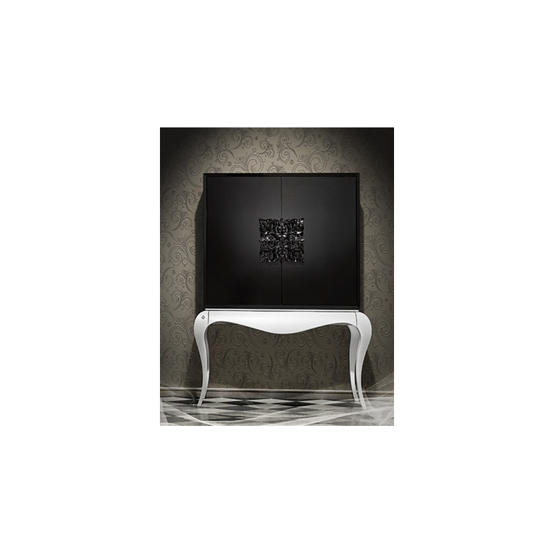 meuble bar noir de luxe 2 portes ivoire clairage led de salle manger. Black Bedroom Furniture Sets. Home Design Ideas