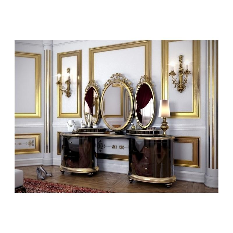 coiffeuse de luxe 5 tiroirs et 3 miroirs milan. Black Bedroom Furniture Sets. Home Design Ideas
