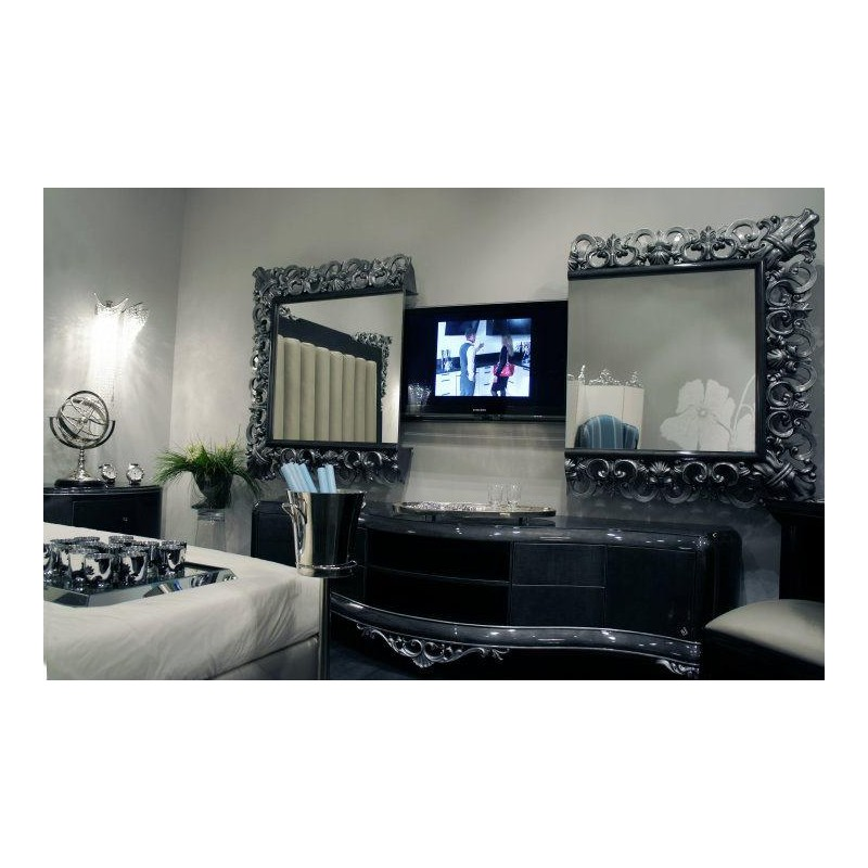 meuble tv bas de luxe 2 portes venize et miroir tv int gr e. Black Bedroom Furniture Sets. Home Design Ideas