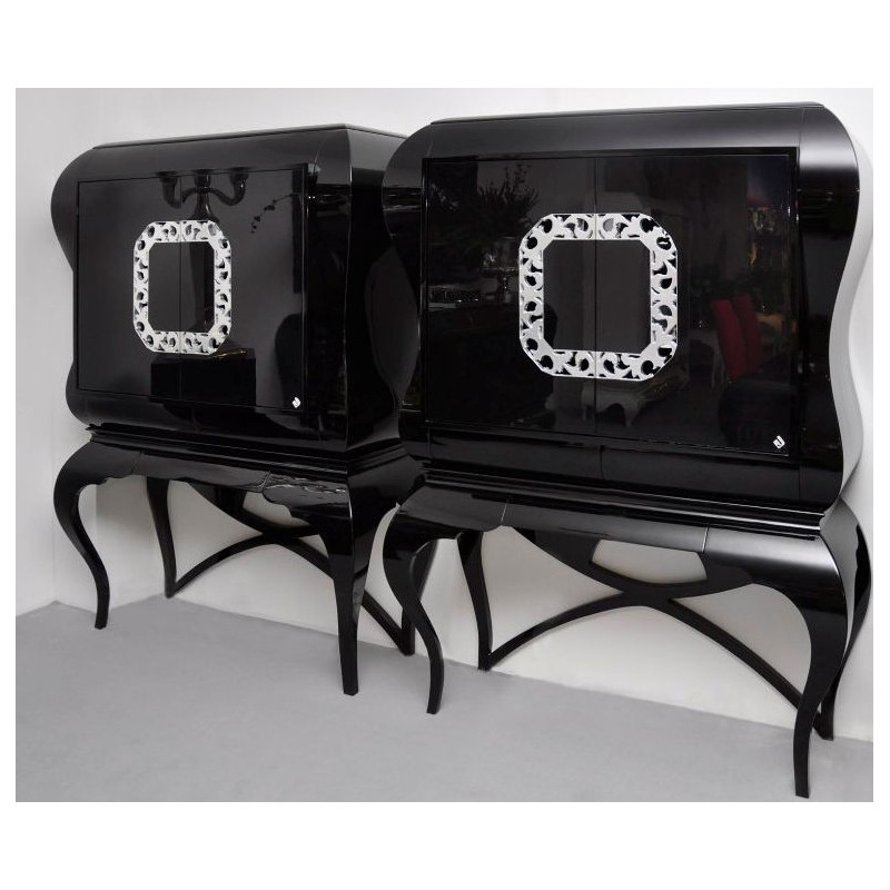 meuble bar de luxe noir 2 portes avec tag re eiffel. Black Bedroom Furniture Sets. Home Design Ideas