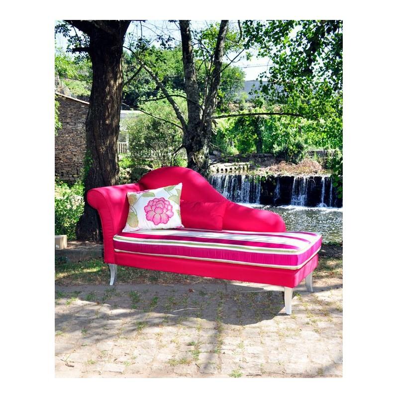 Chaise longue de salon tissu rose fushia luxe for Chaise longue rose fushia