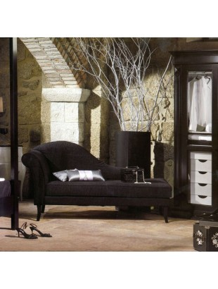 chaise longue de salon tissu noir luxe. Black Bedroom Furniture Sets. Home Design Ideas