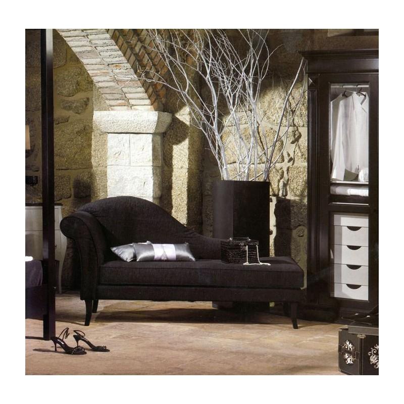 Chaise longue de salon tissu noir luxe for Chaise longue salon