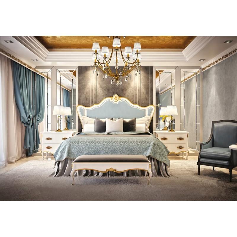 Chambre adulte de luxe or bleu glamour commode et chevet for Chambre complete adulte de luxe