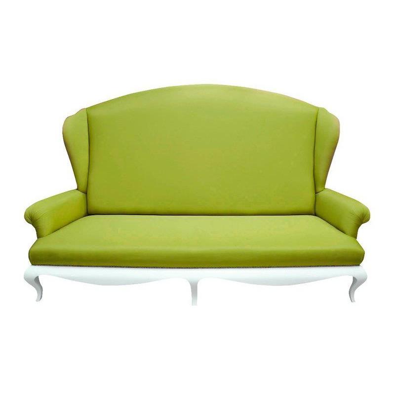 canap de luxe 2 places tissu vert avec accoudoirs eiffel. Black Bedroom Furniture Sets. Home Design Ideas