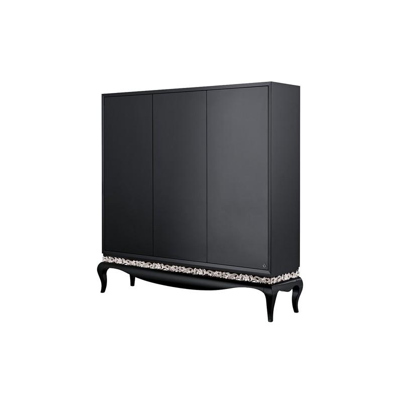 Armoire de luxe 3 portes noire avec ou sans moulure or et - Armoire noire portes ...