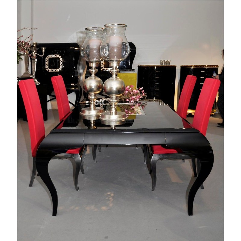 table de s jour de luxe 4 pieds avec ou sans rallonge rectangulaire eiffel et chaise. Black Bedroom Furniture Sets. Home Design Ideas
