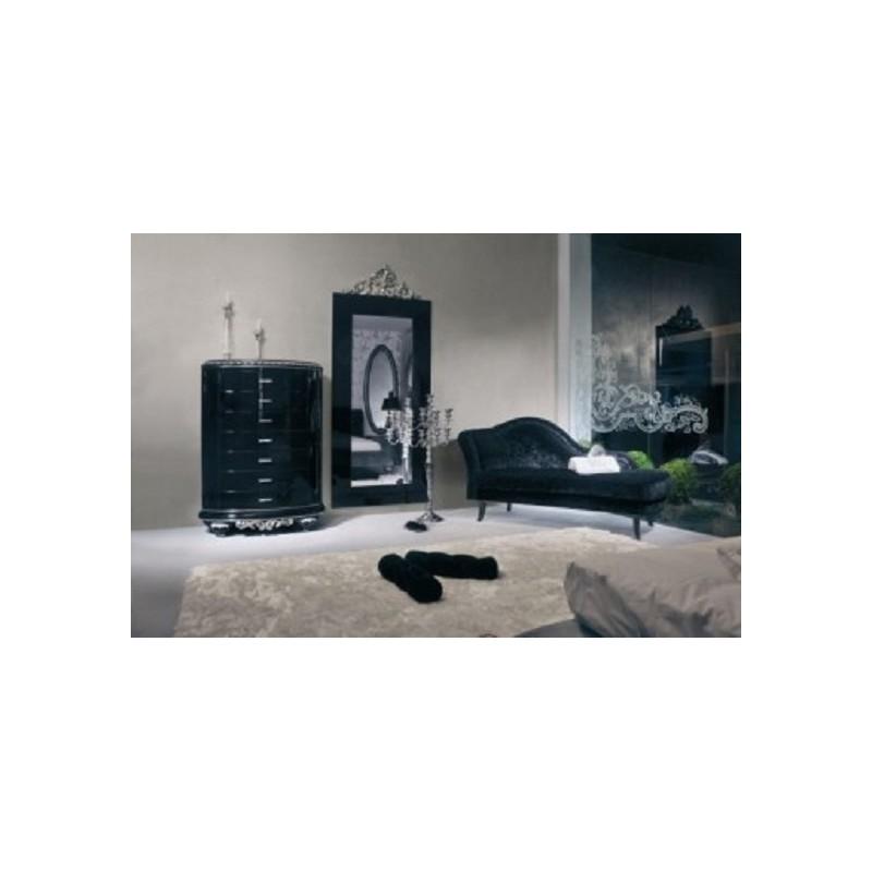 Chaise longue de salon tissu noir luxe - Chaise de salon noir ...