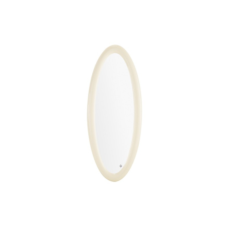 Miroir de luxe oval gris milan for Miroir gris argent