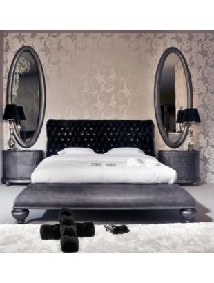 lit et t te de lit de luxe capitonn e grise 2 personnes milan. Black Bedroom Furniture Sets. Home Design Ideas