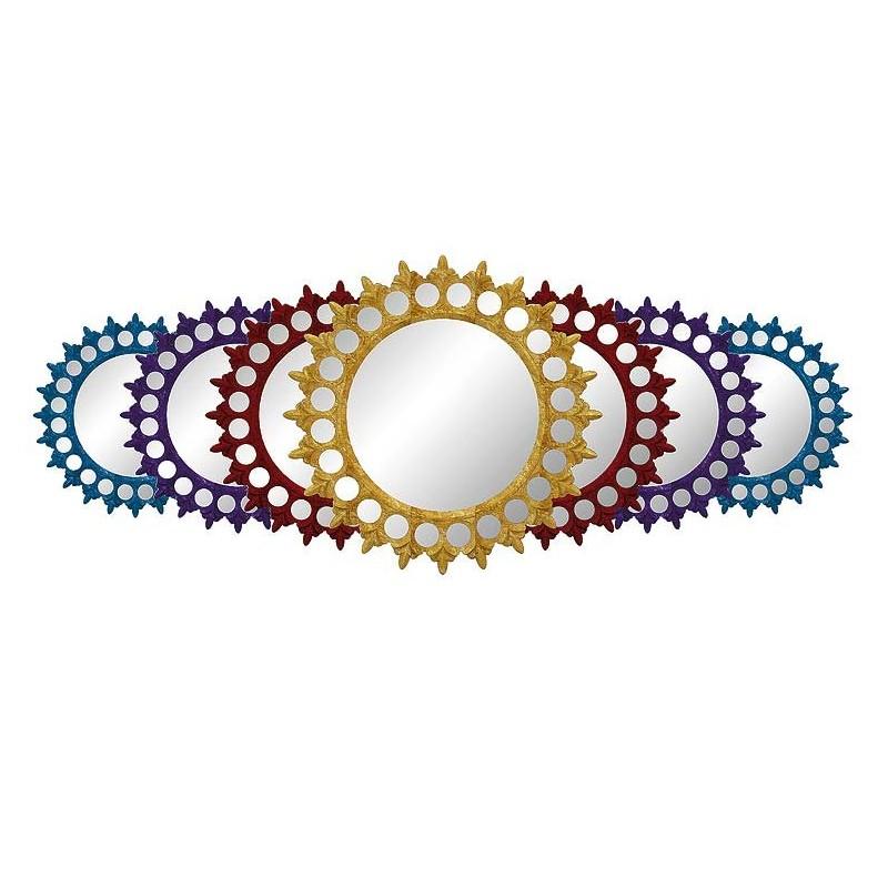 Miroir de luxe bleu rouge violet en forme de soleil 1900 for Miroir forme soleil